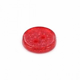 Polyester round-shaped button Glitter - red