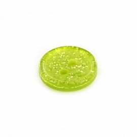 Polyester round-shaped button Glitter - yellow
