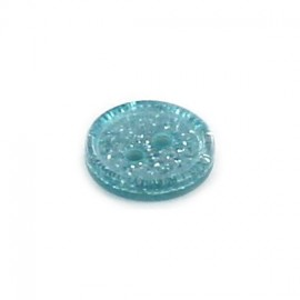 Polyester round-shaped button Glitter - light blue