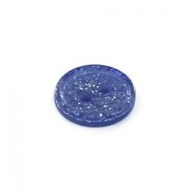 Bouton polyester rond Glitter bleu marine