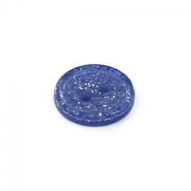 Polyester round-shaped button Glitter - navy blue