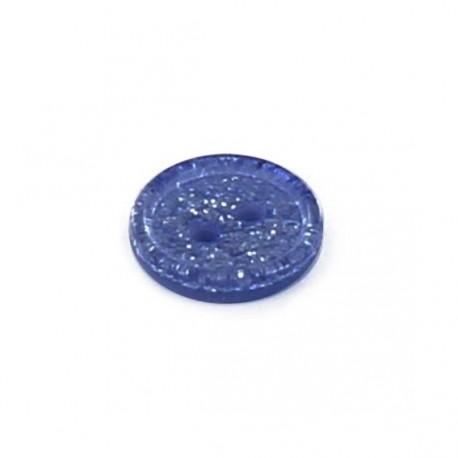 Bouton polyester rond Glitter bleu clair