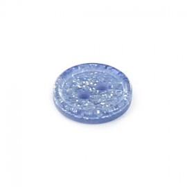 Bouton polyester rond Glitter bleu