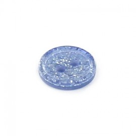 Polyester round-shaped button Glitter - blue