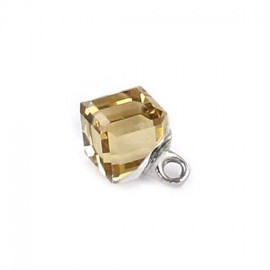 Bouton polyester Cube translucide aurore