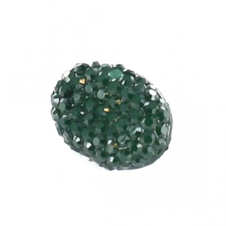 Polyester button, Oval-shaped with rhinestones - green