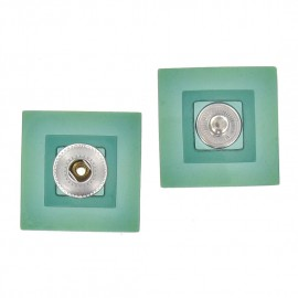 Sew-on square snap button - translucent sea green
