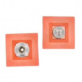 Sew-on square snap button - translucent orange