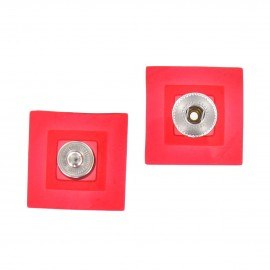 Sew-on square snap button - translucent red