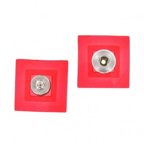 Pression carrée translucide Rouge
