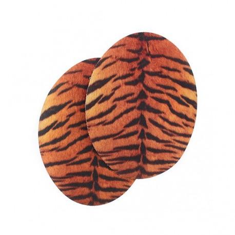 Fusible elbow patch tiger - orange/black