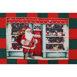 Tissu Noël Calendrier de l'avent Rouge / Vert x 95 cm