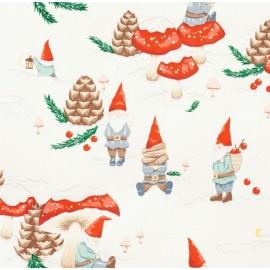 Tissu Noël Gnomes in the snow Blanc x 10 cm