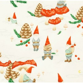 Tissu Noël Gnomes in the snow Écru x 10 cm