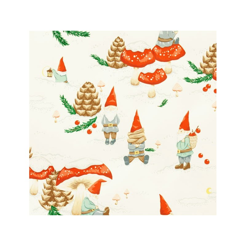 tissus pas cher 100 coton tissu no l gnomes in the snow cru x 30 cm. Black Bedroom Furniture Sets. Home Design Ideas