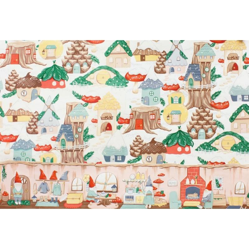 tissus pas cher 100 coton tissu no l gnome avenue fond blanc. Black Bedroom Furniture Sets. Home Design Ideas