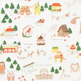 Tissu Noël Santa's Village fond Écru x 10 cm
