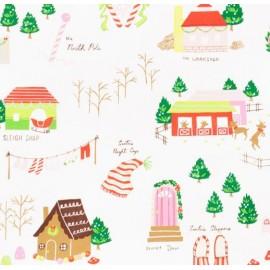 Tissu Noël Santa's Village fond Blanc x 10 cm