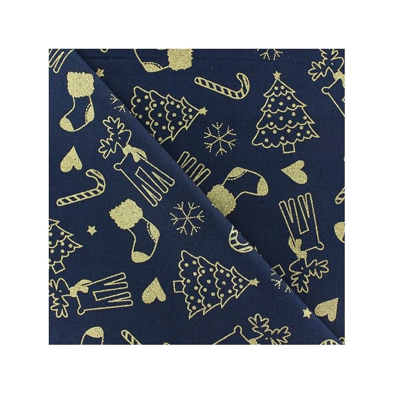 tissus pas cher 100 coton tissu no l sucre d 39 orge sapin fond marine. Black Bedroom Furniture Sets. Home Design Ideas