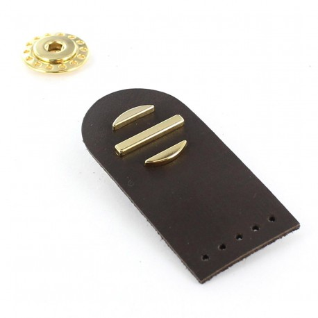 Sew-on leather snap fastener Sunshine - brown