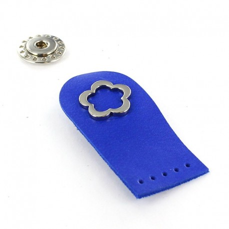 Sew-on leather snap fastener Flower - royal blue