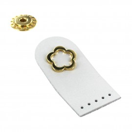 Sew-on leather snap fastener Flower - white