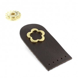 Sew-on leather snap fastener Flower - brown
