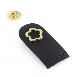 Attache cuir Flower Noir