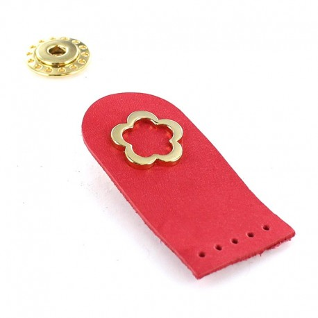 Sew-on leather snap fastener Flower - pink