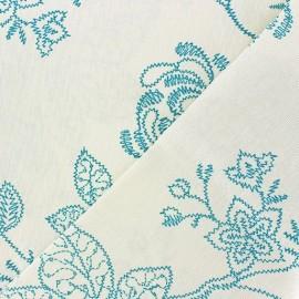 Tissu Toile Zigzag Floral bleu ciel x 10cm