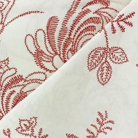 Tissu Toile Zigzag Floral rouge carmin x 10cm