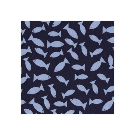Seaworthy Navy Go Fish fabric x 10cm