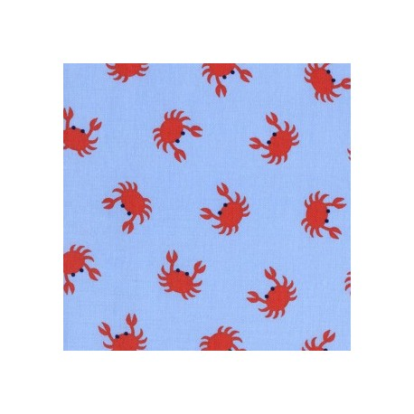 Seaworthy Blue Crabs fabric x 10cm