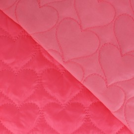 Tissu matelassé coeurs recto-verso rose fluo x 10cm