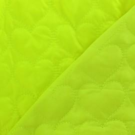 Tissu matelassé coeurs recto-verso jaune fluo x 10cm