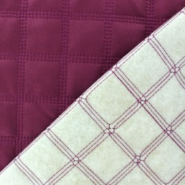Tissu doublure matelassé simili cuir carreaux framboise x 10cm