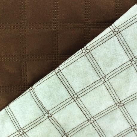 Tissu doublure matelassé simili cuir carreaux brun x 10cm