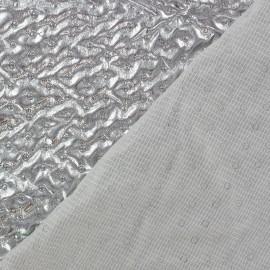 ♥ Coupon tissu 110 cm X 140 cm ♥ doublure matelassé froncé recto Argent