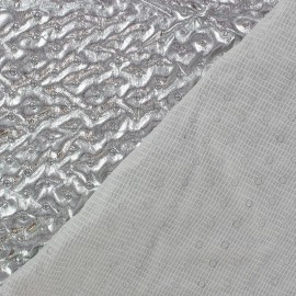 Gathered Recto Quilted Lining Fabric - Silver x 10cm