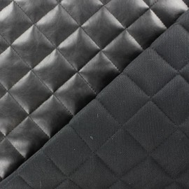 Tissu matelassé recto simili cuir Noir x 10cm