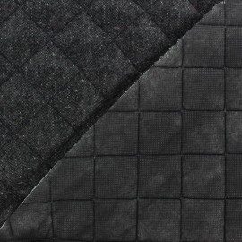 ♥ Coupon 10 cm X 140 cm ♥ Recto Wool Quilted Fabric - Anthracite