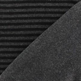 Tissu Maille tricot doublé à rayures Gris x 10cm