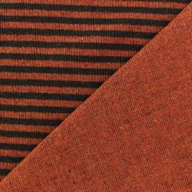 Scratched stitch lined knitting fabric - Auburn x 10cm