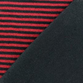 Tissu Maille tricot doublé à rayures Carmin x 10cm