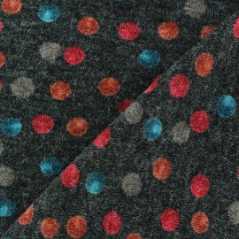 Tissu Maille tricot Tanja à pois Anthracite x 10cm