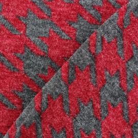 Tissu Maille tricot Pied de coq Rouge x 10cm
