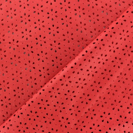 Clara flowers punched flexible imitation leather - red x 10cm