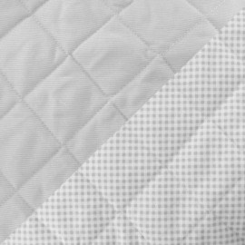 Baby Quilted Cotton Stitched Fabric - Grey x 10cm