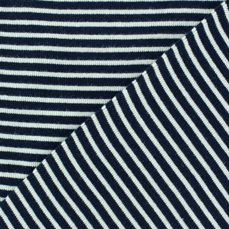 Knitted Jersey 1/2 tubular edging fabric x 10 cm - navy stripes