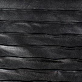 Simili cuir relief rayures Noir x 10cm